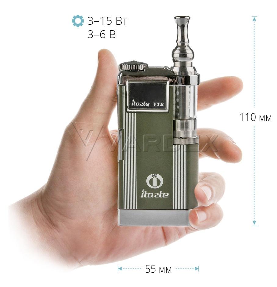 Высота Innokin VTR в стандартной комплектации (вместе с мундштуком) составляет почти 140 миллиметров, ширина — 55 мм