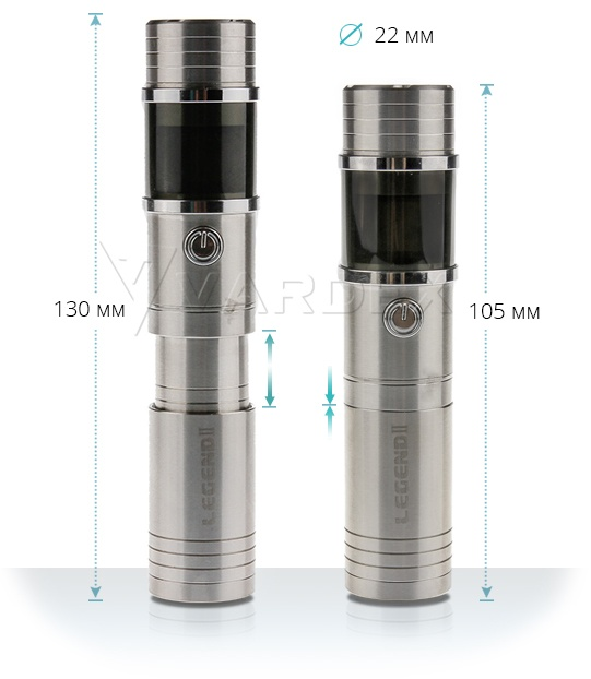 Диаметр Sigelei Legend V2 составляет 23 мм, длина же, благодаря телескопической конструкции, варьируется от 105 до 130 миллиметров